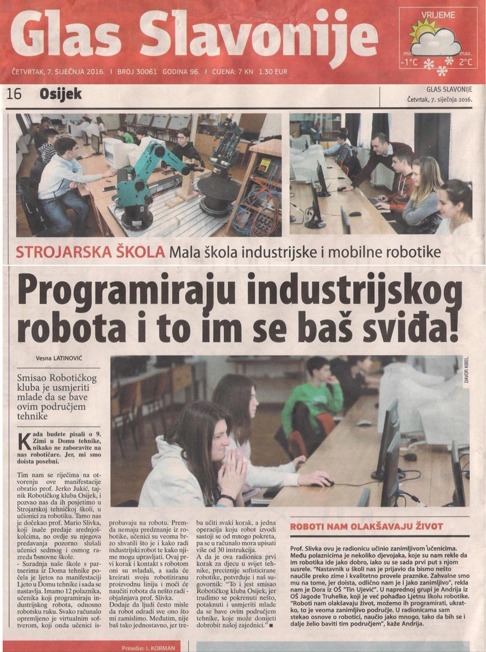 RIK Osijek i HROBOS u Glasu Slavonije